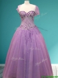 Beautiful Rhinestoned A Line Sweet 16 Gown in Lavender