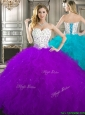 Best Beaded and Ruffled Quinceanera Dress in Purple and White, Silhouette: Ball Gown