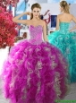 Cheap Fuchsia and White Organza Sweet 16 Dress with Beading and Ruffles, Silhouette: Ball Gown