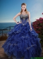 Classical Rhinestoned and Ruffled Sweet 16 Dress in Royal Blue