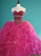 Gorgeous Beaded and Pick Ups Organza Sweet 16 Dress in Fuchsia