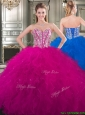 Popular Beaded and Ruffled Big Puffy Sweet 16 Dress in Fuchsia, Silhouette: Ball Gown