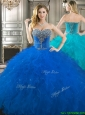 Popular Beaded Bodice and Ruffled Really Puffy Quinceanera Dress in Royal Blue, Silhouette: Ball Gown