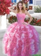 Popular Rose Pink and White Quinceanera Dress with Beading and Ruffles, Silhouette: Ball Gown