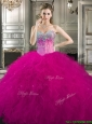 Pretty Beaded and Ruffled Tulle Sweet 16 Dress in Fuchsia, Silhouette: Ball Gown