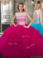 Two Piece Scoop Cap Sleeves Quinceanera Dress with Beading and Ruffles, Silhouette: Ball Gown