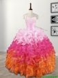 Elegant Beaded and Ruffled Quinceanera Dress in Gradient Color