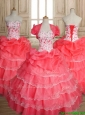 Sweet Beaded and Ruffled Layers Quinceanera Dress in Coral Red