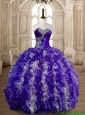 Beautiful Puffy Skirt Beaded and Ruffled Quinceanera Gown in Organza