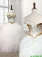 Visible Boning Beaded Bodice and Ruffled Quinceanera Dress in White