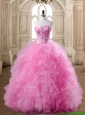 Affordable Rose Pink Quinceanera Dress with Beading and Ruffles for Spring