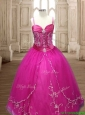 Exquisite Spaghetti Straps Beaded and Applique Quinceanera Dress in Hot Pink