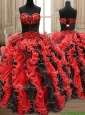 New Arrivals Applique and Ruffled Quinceanera Dress in Black and Red