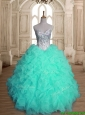 Pretty Apple Green Sweet 16 Dress with Beading and Ruffles for Spring