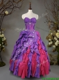 Visible Boning Beaded and Ruffled Quinceanera Dress in Taffeta
