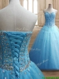 Visible Boning Beaded Bodice A Line Quinceanera Dress in Baby Blue