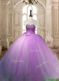 Beautiful Lilac Tulle Quinceanera Dress with Beading and Bowknot