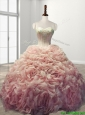 Beautiful Rolling Flowers Baby Pink Sweet 16 Dress with Beading