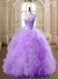 Elegant Beaded and Ruffled Lavender Quinceanera Dress in Tulle