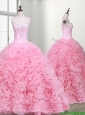 Elegant Rolling Flowers and Beaded Quinceanera Dress with Court Train