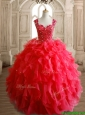 Perfect Straps Beading and Ruffles Sweet 16 Dress in Red