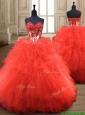 Popular Red Really Puffy Quinceanera Gown with Appliques and Ruffles