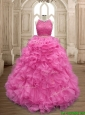 Two Piece Scoop Beaded and Ruffles Quinceanera Dress in Organza