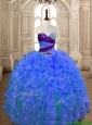 Hot Sale Beaded and Ruffled Organza Quinceanera Dress in Blue