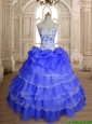 Modest Ruffled Layers and Beaded Sweet 16 Dress in Purple