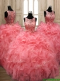Perfect Scoop Beaded and Ruffled Quinceanera Dress in Watermelon Red