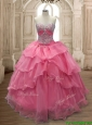 Unique Watermelon Red Organza Quinceanera Dress with Beading and Ruffled Layers