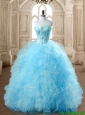 Discount Aqua Blue Quinceanera Dress with Beading and Ruffles