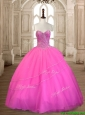 Wonderful Tulle Hot Pink Sweet 16 Dress with Beading