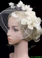 Fashionable White Headpieces with Hand Made Flowers and Net Yarn Bridal Hat