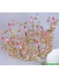 Cheap Pink Tiara with Rhinestone and Floral Alloy
