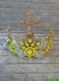 Fashionable Tiara with Yellow Green Rhinestone