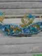 Beautiful Baby Blue Tiara with Rhinestone and Imitation Pearls