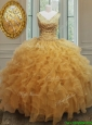 2017 Exclusive V Neck Zipper Up Gold Sweet 16 Dress with Beading and Ruffles