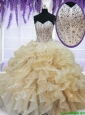 2017 Pretty Visible Boning Beaded Ruffled Quinceanera Dress in Champagne