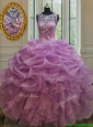 Cheap See Through Scoop Beaded and Bubble Quinceanera Dress with Ruffles