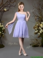 2017 Beautiful Chiffon One Shoulder Beaded Dama Dress in Lavender