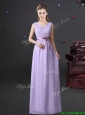 2017 Exclusive Empire V Neck Lavender Prom Dress with Lace and Belt