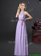 2017 New Style Empire Halter Top Lavender Dama Dress in Chiffon