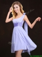 2017 Traditional Handmade Flower Lavender Dama Dress in Mini Length