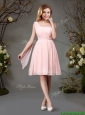 Best Selling Empire Chiffon Beaded Top and Ruched Dama Dress in Pink
