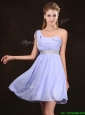 Modern Ruched Bodice and Sequined Short Prom Dress in Lavender