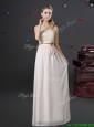 Pretty Off White Chiffon Strapless Prom Dress with Lace and Belt