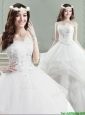 Beautiful Really Puffy Strapless Wedding Dress with Appliques and Beading