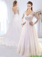Classical Brush Train V Neck Wedding Dress with Appliques and Lace