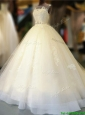 Gorgeous Bateau Open Back Bowknot Wedding Dress with Court Train
